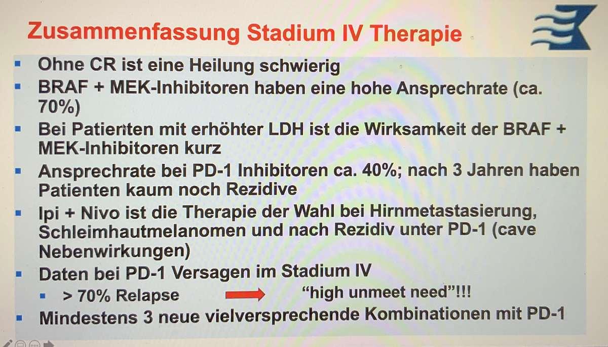 Vortragsfolie: Therapieoptionen des Melanoms im Stadium IV